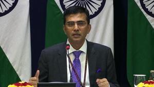 MEA Spokesperson Raveesh Kumar addressing a press conference.(ANI photo)