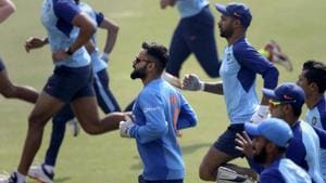 India's captain Virat Kohli, center, runs with teammates to warm up during a training session ahead of their first Twenty20 cricket match against Sri Lanka in Gauhati, India, Saturday, Jan. 4, 2020.(AP)