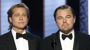 This image released by NBC shows presenters Brad Pitt, left, and Leonardo DiCaprio at the 77th Annual Golden Globe Awards.(AP)