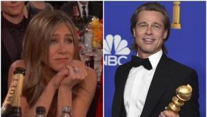 Golden Globes 2020: Netizens could not stop gushing over Jennifer Aniston's reaction to Brad Pitt's acceptance speech.(Twitter/AP)