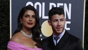Golden Globe Awards 2020 red carpet: Priyanka Chopra made a stunning appearance with Nick Jonas.(REUTERS)