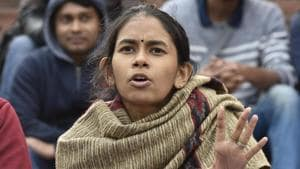 JNU President Aishe Ghosh was reportedly hit over the eye with an iron rod, receiving severe injuries.(HT PHOTO)