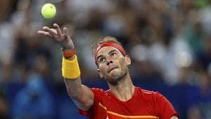 Rafael Nadal of Spain serves to Pablo Cuevas of Uruguay.(AP)