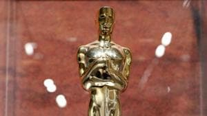 An Oscar statuette awarded to Audrey Hepburn posthumously for her humanitarian work is pictured at the exhibition