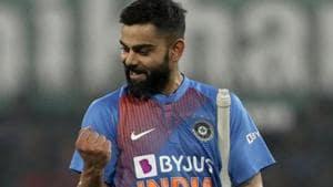 India's captain Virat Kohli celebrates his team's win in the second Twenty20 international cricket match between India and Sri Lanka in Indore, India.(AP)