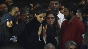 Deepika Padukone is seen at a gathering at JNU in solidarity with the students against Sunday's violence, in New Delhi, India, on Tuesday, January 07, 2020.(Vipin Kumar/HT Photo)
