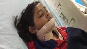Photo of Shivangini Gohain after her surgery at All India Institute of Medical Science in New Delhi.(Twitter/ANI)