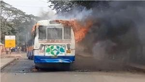 Mob in Kolkata torches three buses after  youth dies in road accident