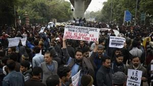 A Delhi court on Friday granted bail to 12 people who were arrested for being allegedly involved in the anti-Citizenship Amendment Act (CAA) protests in the Seemapuri area of national capital Delhi.(Burhaan Kinu/HT PHOTO)