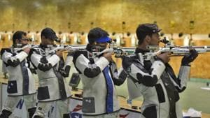 Indian shooters take part in a practice session(Burhaan Kinu/HT PHOTO)