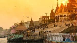 A view of the ghats of temple town Varanasi.