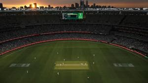 A general view of the sunset during the first day night test match in Perth day one of the First Test match between Australia and New Zealand at Optus Stadium on December 12, 2019 in Perth(Getty Images)