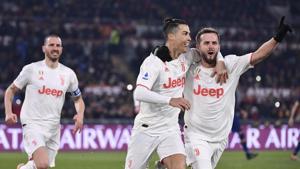 Cristiano Ronaldo celebrates after scoring a goal.(AP)