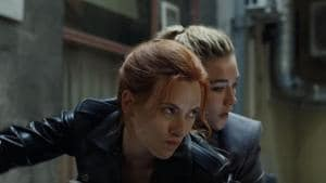Scarlett Johansson and Florence Pugh in a still from Black Widow.