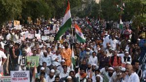 Peaceful protest against CAA,NCR and NPR at Millat Nagar,Andheri in Mumbai on January 12, 2020.(Pramod Thakur/HT File Photo)