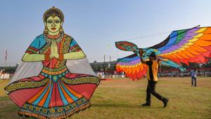 Hyderabad: Decorative kites at an international kite festival on the occasion of Makar Sankranti festival, in Hyderabad, Monday, Jan. 13, 2020.(PTI)