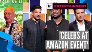 Jeff Bezos, Farhan Akhtar, Zakir Khan, Manoj Bajpayee at Amazon blue carpet event