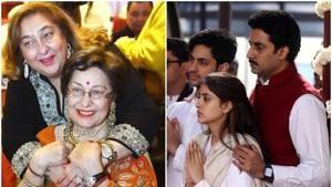 Late Ritu Nanda with sister Rima Jain (left), Abhishek Bachchan with Navya Naveli and Agastya at the funeral.