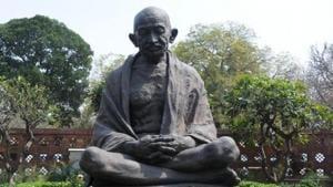 Mahatma Gandhi statue in the Parliament premises.(IANS)