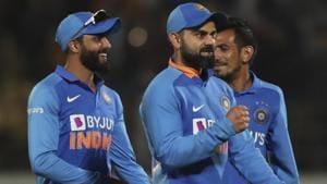 Indian cricket team captain Virat Kohli, center, along with teammates celebrate their victory.(AP)