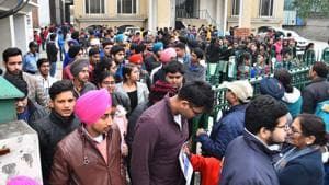 Students coming out from the examination hall after appear in JEE Main exam in Ludhiana on Wednesday, January 08, 2020.(HT File)