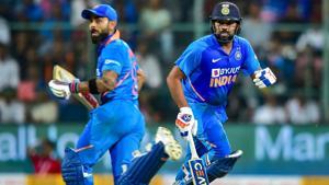 India's Rohit Sharma and Virat Kohli run between the wickets.(PTI)