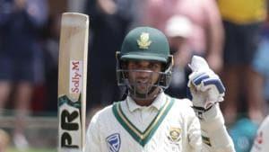 South Africa's Keshav Maharaj celebrates after scoring a half-century.(AFP)