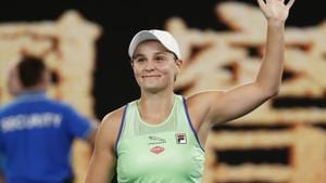 Australia's Ashleigh Barty celebrates after winning the match.(REUTERS)