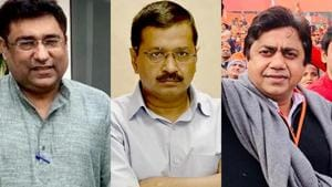 From left: A combination photo shows Congress' Romesh Sabharwal, Delhi Chief Minister Arvind Kejriwal and BJP's Sunil Yadav, who will contest Assembly polls from New Delhi seat.(HT Photo)