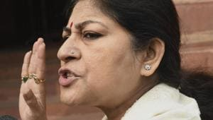 BJP MP Roopa Ganguly speaks to the media as she arrives at Parliament House in New Delhi.(PTI File Photo)