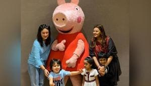 Taimur Ali Khan is super-excited as Kareena Kapoor takes him to meet Peppa Pig, see pics and video