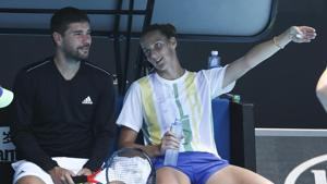 Karolina Pliskova of the Czech Republic gestures as she sits with her coach Daniel Vallverdu.(AP)