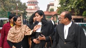 Delhi gang rape victim's mother Asha Devi at the Supreme Court on January 28.(PTI Photo)