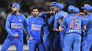 Hamilton: India captain Virat Kohli celebrates.(AP)