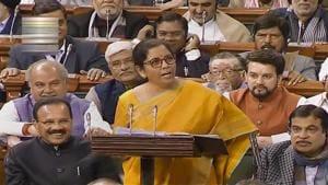 **EDS: TV GRAB** New Delhi: Finance Minister Nirmala Sitharaman presents the Union Budget 2020-21 in the Lok Sabha, in New Delhi, Saturday, Feb. 1, 2020(PTI)