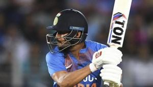 India's Manish Pandey batting during the Twenty/20 cricket international between India and New Zealand in Auckland, New Zealand, Friday, Jan. 24, 2020.(AP)