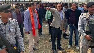 Assam Minister Himnata Biswa Sarma reviewing preparations for the Bodo Accord celebrations in Kokrajhar which Prime Minister Narendra Modi will attend on Friday.(https://twitter.com/himantabiswa)