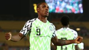 Nigeria's Odion Ighalo celebrates scoring their first goal.(REUTERS)