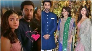 Ranbir Kapoor, Alia Bhatt with his mother Neetu Singh at Armaan Jain's wedding reception.(Instagram)
