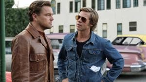 This image released by Sony Pictures shows Leonardo DiCaprio, left, and Brad Pitt in a scene from Once Upon a Time in Hollywood.(AP)