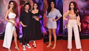 Disha Patani, Anil Kapoor, Sonam Kapoor, Katrina Kaif and Nora Fatehi at Malang screening.(Varinder Chawla)