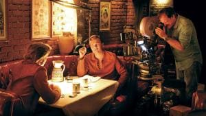 Quentin Tarantino, Leonardo DiCaprio and Brad Pitt on the set of Once Upon A Time In Hollywood.
