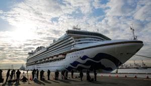 The Diamond Princess, owned by Miami-based Carnival Corp, was placed on a two-week quarantine on arriving at Yokohama on Monday after a man who disembarked in Hong Kong was diagnosed with the virus.(REUTERS)