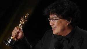 Bong Joon Ho receives the Oscar for Best Original Screenplay for Parasite.(REUTERS)