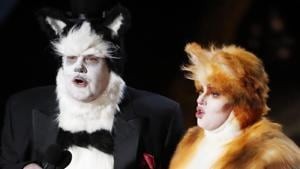 James Corden and Rebel Wilson in Cats costumes present the Oscar for Best Visual Effects at the 92nd Academy Awards in Hollywood, Los Angeles.(REUTERS)