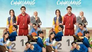 Chhalaang poster features Nushrat Bharucha, Rajkummar Rao and Sudhir Mishra.