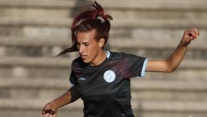 Soccer player Mara Gomez trains with her first division women's soccer team, Villa San Carlos, in La Plata, Argentina, Wednesday, Feb. 12, 2020. Gomez is a transgender woman who is limited to only training with her team while she waits for permission to start playing from the Argentina Football Association (AFA). If approved, she would become the first trans woman to compete in a first division, professional Argentine AFA tournament. (AP Photo/Natacha Pisarenko)(AP)