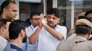 In his 2018 poll affidivat, Congress leader DKShivakumar had declared assets worth Rs 840 crore making him one of the richest politicians in the state.(PTI PHOTO.)