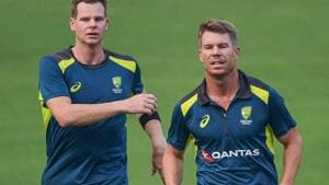 Australian cricketer Steve Smith along with David Warner during a practice session(PTI)