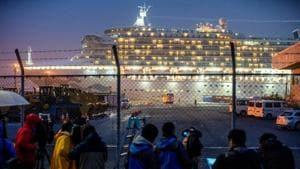 Diamond Princess, where dozens of passengers were tested positive for coronavirus, is docked at Daikoku Pier Cruise Terminal in Yokohama, south of Tokyo, Japan.(REUTERS)
